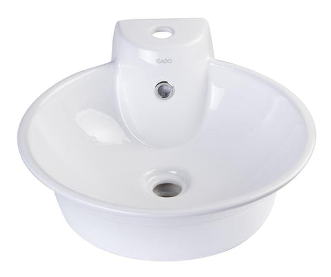 BUY EAGO BA121 Round Ceramic Above Mount Bath Sink with Single Faucet Hole - Zen Tap Sinks - 1