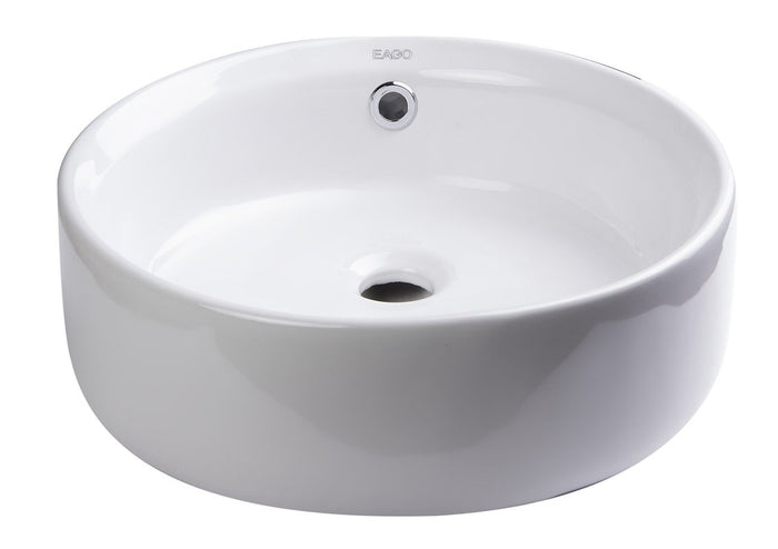 BUY EAGO BA129 16'' Above Mount White Round Porcelain Bathroom Sink w/ Overflow - Zen Tap Sinks - 1