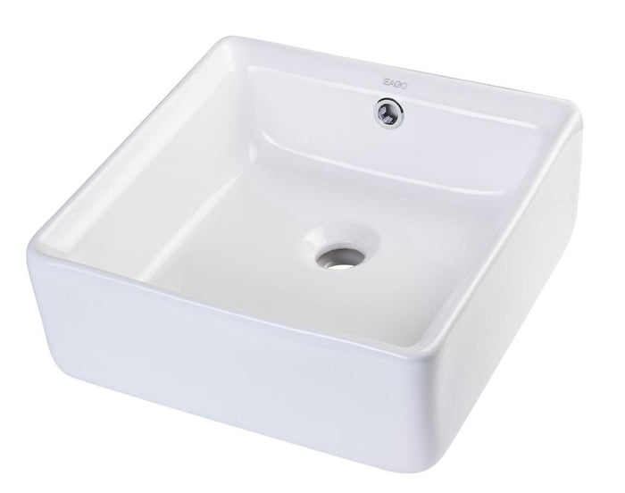 BUY EAGO BA130 15'' White Modern Square Porcelain Bathroom Sink with Overflow - Zen Tap Sinks - 1