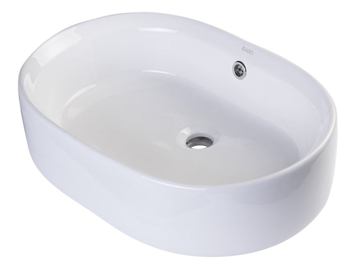 BUY EAGO BA132 22'' White Oval Shaped Porcelain Bathroom Sink with Overflow - Zen Tap Sinks - 1