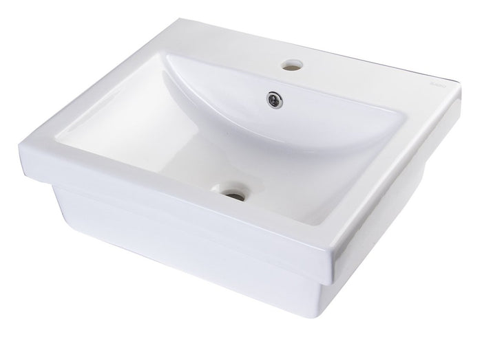 BUY EAGO BA134 21'' White Rectanglur Porcelain Bathroom Sink with Overflow - Zen Tap Sinks - 1