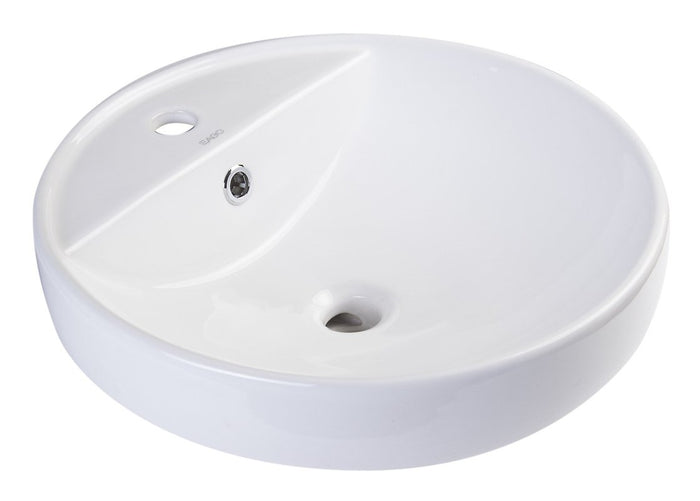 BUY EAGO BA141 White Above Mount Porcelain Bathroom Sink Basin with Single Hole - Zen Tap Sinks - 1