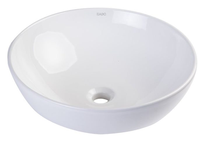 BUY ONLINE EAGO BA351 18'' White Round Porcelain Bathroom Sink Basin without Overflow - Zen Tap Sinks - 1