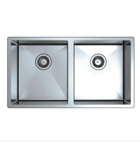 Buy Square Stainless Steel Double Bowl Kitchen Sink - Zen Tap Sinks