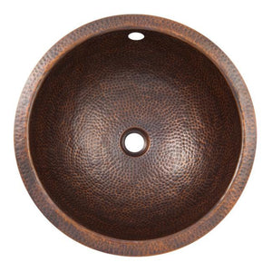 Solid Hand Hammered Copper Large Round Undermount Lavatory Sink