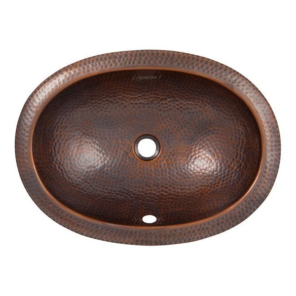 Solid Hand Hammered Copper Oval Undermount Lavatory Sink