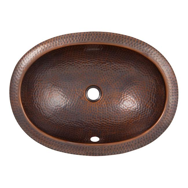 Solid Hand Hammered Copper Oval Self Rimming Lavatory Sink