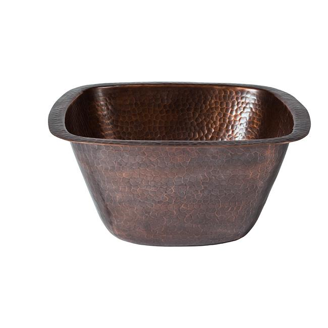 Solid Hand Hammered Copper Medium Square Bar/Prep Sink