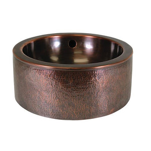 Solid Hand Hammered Copper Round Vessel Sink With Apron