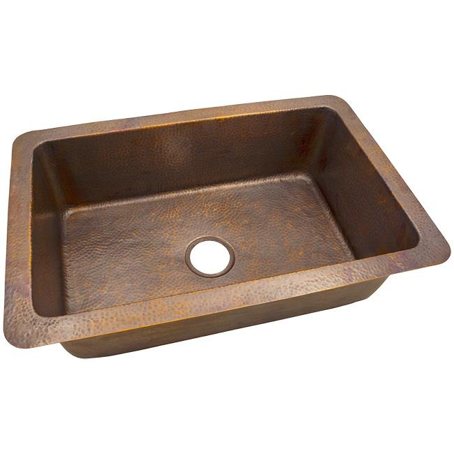 Solid Hand Hammered Copper Large Single Bowl Drop-In / Undermount Sink