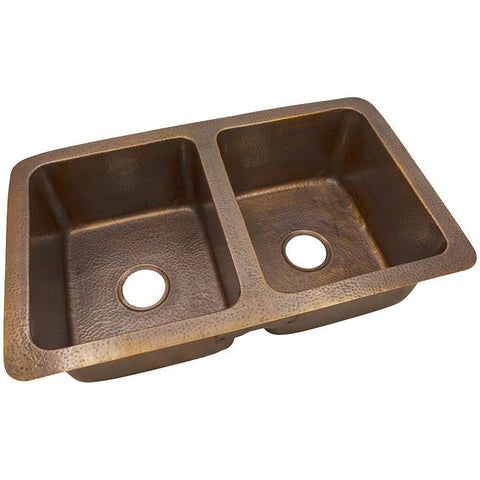 Solid Hand Hammered Copper Large Double Bowl Drop-In / Undermount Sink