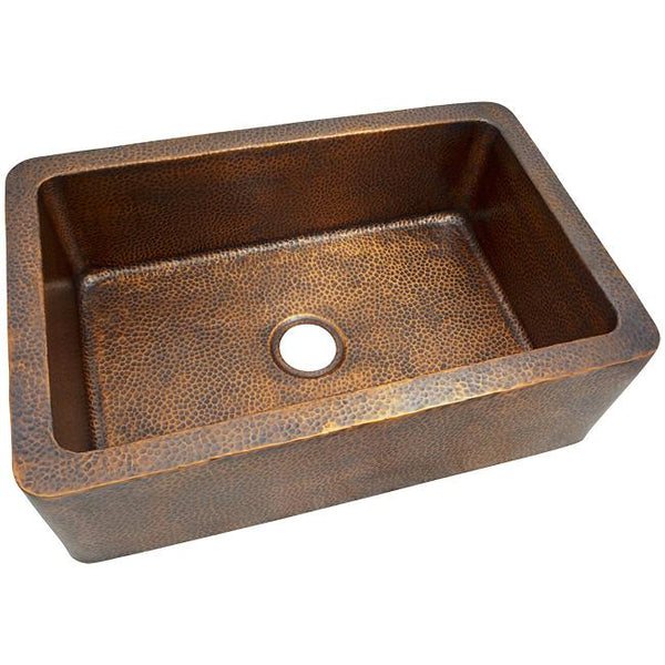 Solid Hand Hammered Copper Large Single Bowl Farmhouse Sink