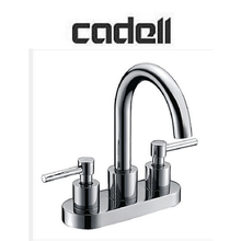 Deck Mounted 2 Handle Centerset Lever Handle Bathroom Faucet