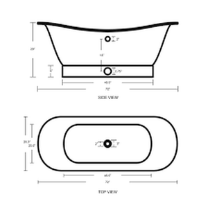 Buy Copper Factory CF167AN 72'' Double Slipper Copper Bath Tub With Base - Zen Tap Sinks - 2