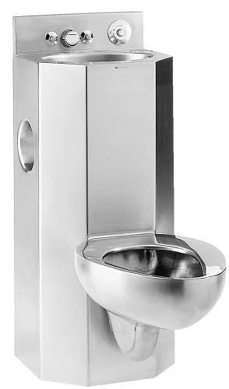 METCRAFT WALL MOUNT COMBO BATHROOM SINK AND TOILET FIXTURE, STAINLESS STEEL
