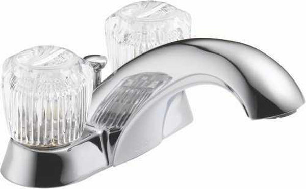 LEAD-FREE DELTA® BATHROOM FAUCET, TWO HANDLES, CHROME FINISH