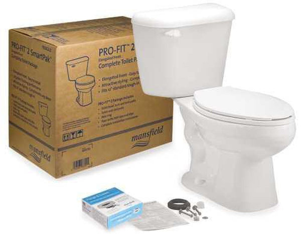 MANSFIELD® PRO-FIT® WATERSENSE® HIGH-EFFICIENCY ROUND TOILET IN A BOX, 1.28 GPF