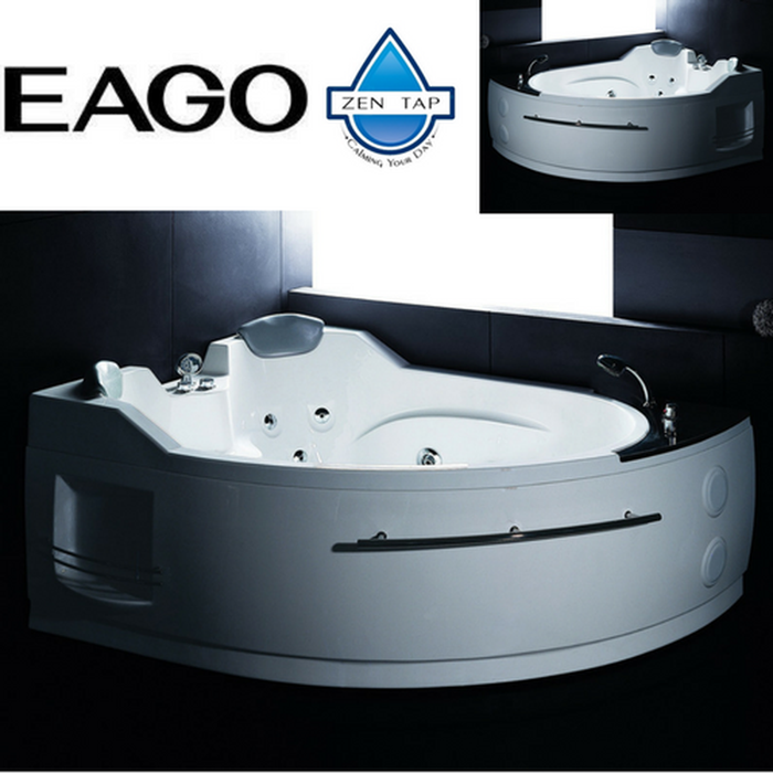 EAGO AM113 White Corner Jetted Whirlpool Bathtub for Two