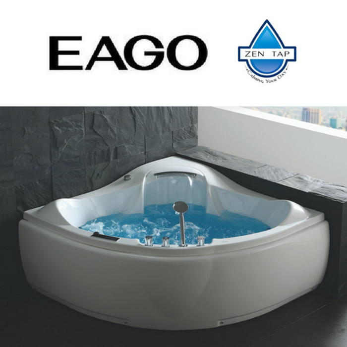 EAGO AM208 White Acrylic Corner Whirlpool Jetted Bathtub for Two