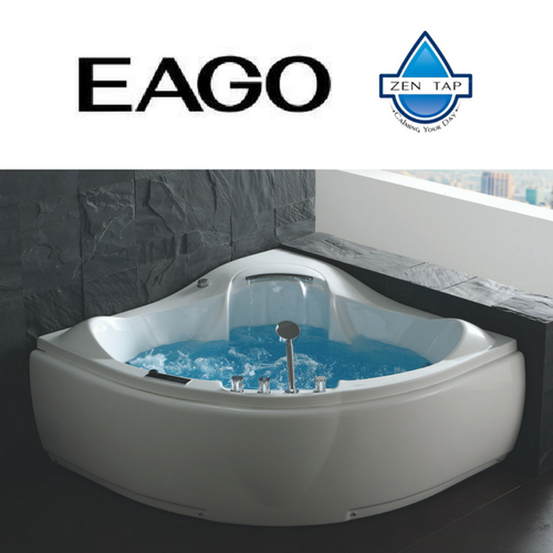 EAGO AM208 White Acrylic Corner Whirlpool Jetted Bathtub for Two ...