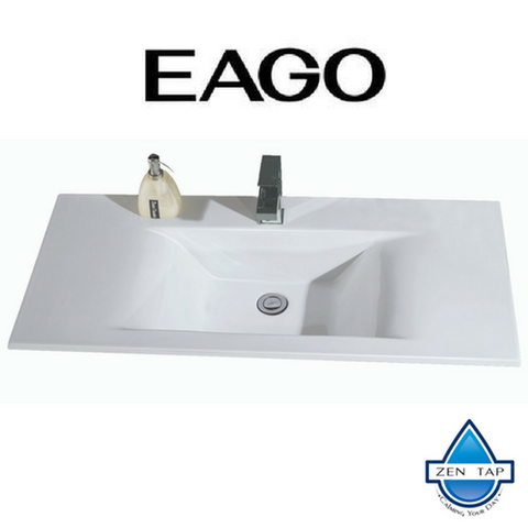 "EAGO BB127 White Ceramic 32""x19"" Rectangular Drop In Sink"