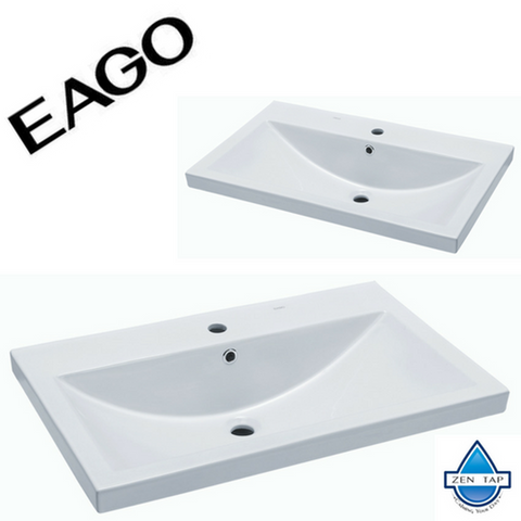 "EAGO BH001 White Ceramic 32""x19"" Rectangular Drop In Sink"