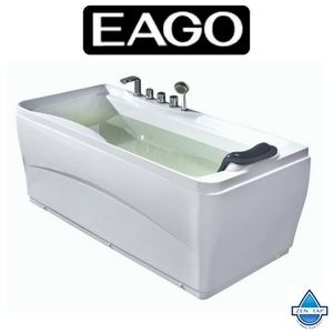 "EAGO LK1102 White Acrylic 63"" Soaking Tub with FREE Fixtures"