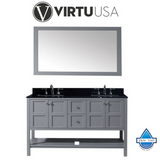 "Winterfell 60"" Double Bathroom Vanity in Espresso with Black Galaxy Granite Top and Square Sink with Mirror"