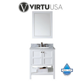 "Winterfell 30"" Single Bathroom Vanity with Marble Top and Round Sink"