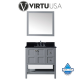 "Winterfell 36"" Single Bathroom Vanity with Black Galaxy Granite Top and Square Sink with Mirror"