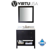 "Winterfell 36"" Single Bathroom Vanity in Cherry with Marble Top and Round Sink with Mirror"