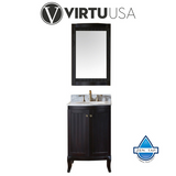 "Khaleesi 24"" Single Bathroom Vanity in Espresso with Marble Top and Round Sink with Mirror"