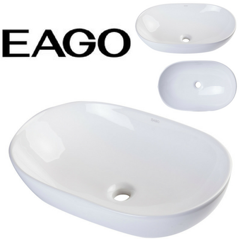 EAGO BA352 23'' White Oval Porcelain Bathroom Sink Basin without Overflow