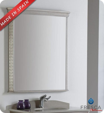 "Fresca Platinum London 32"" Antique Silver Bathroom Mirror"