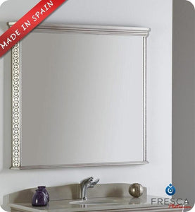 "Fresca Platinum London 40"" Antique Silver Bathroom Mirror"