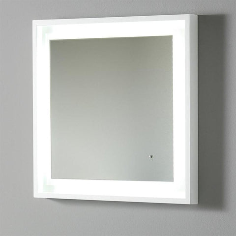 "Fresca Platinum Wave 24"" Glossy White Bathroom Mirror w/ LED Lighting & Fog-Free System"