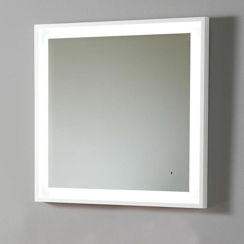 "Fresca Platinum Wave 32"" Glossy White Bathroom Mirror w/ LED Lighting & Fog-Free System"