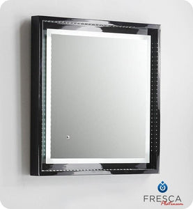 "Fresca Platinum Wave 24"" Glossy Black Bathroom Mirror w/ LED Lighting & Fog-Free System"