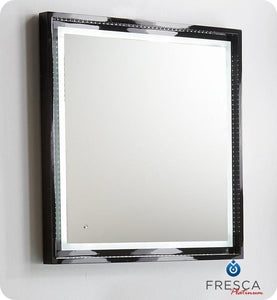 "Fresca Platinum Wave 32"" Glossy Black Bathroom Mirror w/ LED Lighting & Fog-Free System"