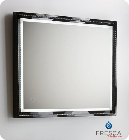 "Fresca Platinum Wave 40"" Glossy Bathroom Mirror w/ LED Lighting & Fog-Free System"