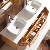"Fresca Bellezza 59"" Natural Wood Modern Double Vessel Sink Bathroom Vanity"