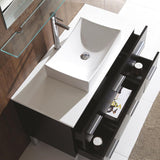 "Fresca Distante 44"" Espresso Modern Bathroom Vanity w/ Mirror & Side Cabinet"
