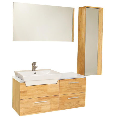 "Caro 36"" Natural Wood Modern Bathroom Vanity w/ Mirrored Side Cabinet & Faucet"
