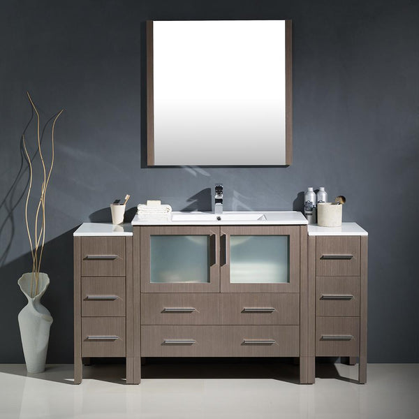 "Fresca Torino 60"" Gray Oak Modern Bathroom Vanity w/ 2 Side Cabinets & Integrated Sink"