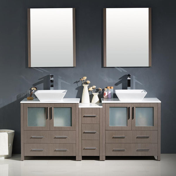 "Fresca Torino 72"" Gray Oak Modern Double Sink Bathroom Vanity w/ Side Cabinet & Vessel Sinks"