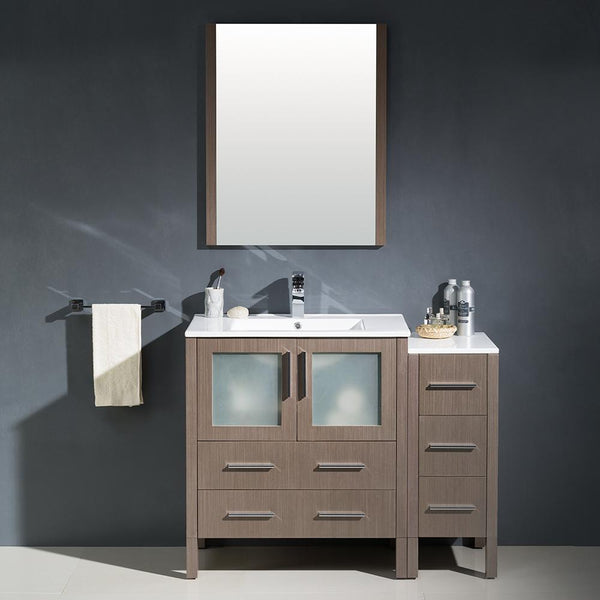 "Fresca Torino 42"" Gray Oak Modern Bathroom Vanity w/ Side Cabinet & Integrated Sink"