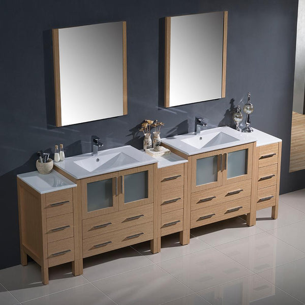 "Fresca Torino 96"" Light Oak Modern Double Sink Bathroom Vanity w/ 3 Side Cabinets & Integrated Sinks"