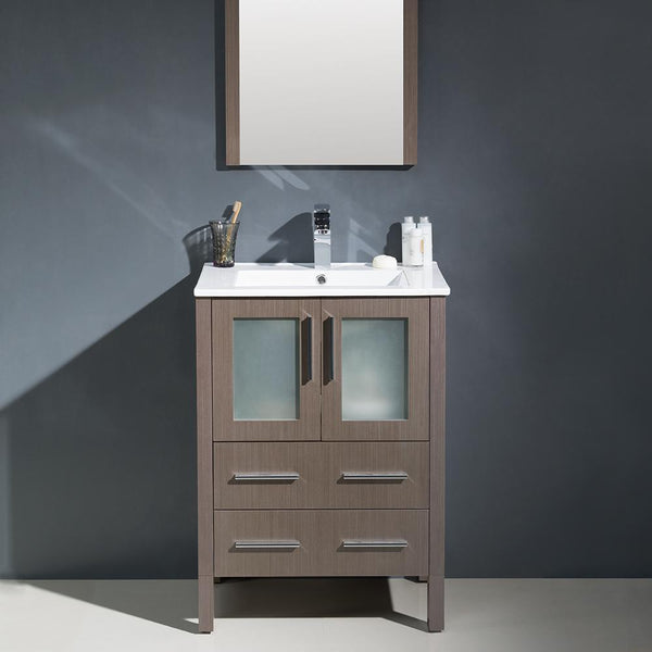 "Fresca Torino 24"" Gray Oak Modern Bathroom Vanity w/ Integrated Sink"
