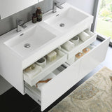 "Fresca Mezzo 48"" White Wall Hung Double Sink Modern Bathroom Vanity w/ Medicine Cabinet"