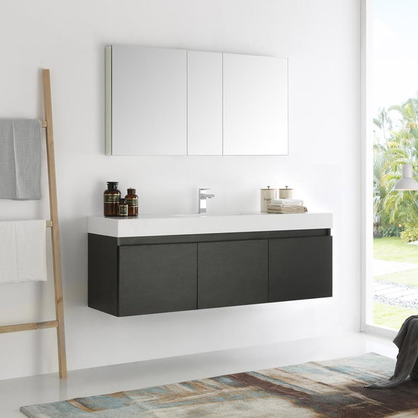 "Fresca Mezzo 60"" Black Wall Hung Single Sink Modern Bathroom Vanity w/ Medicine Cabinet"